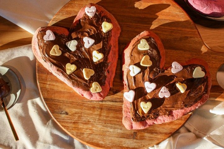 Rode biet pizza valentijn hartje nutella